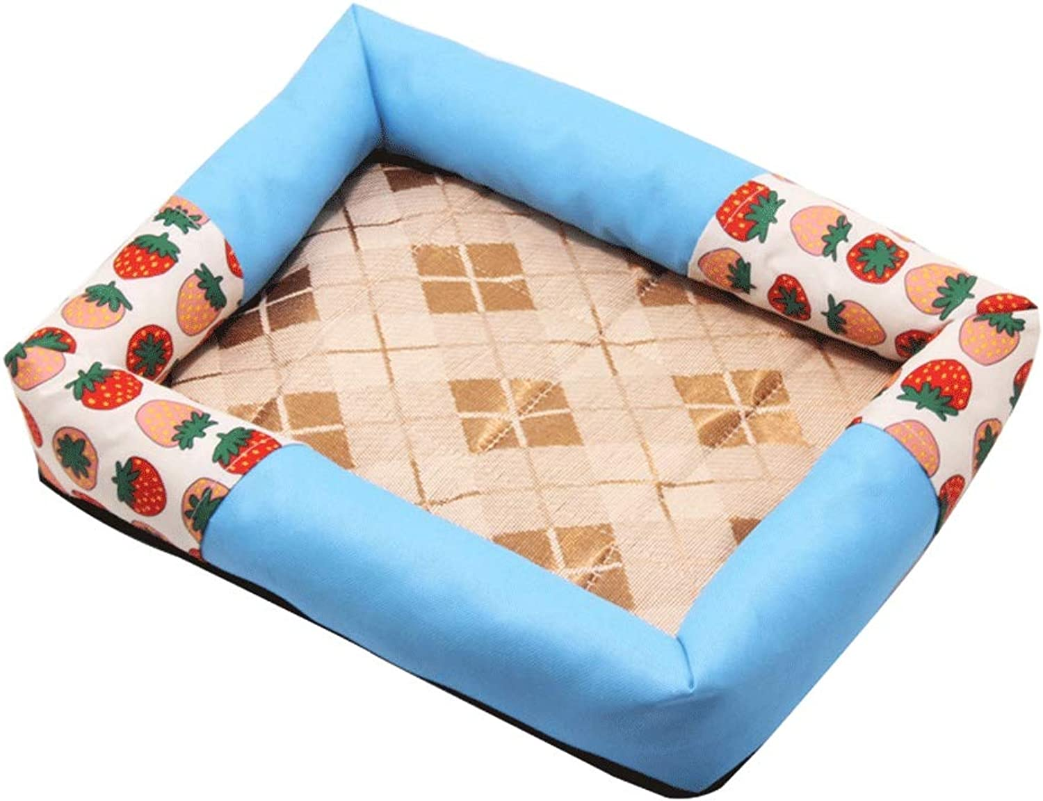Rattan Kennel, Small MediumSized Dog Teddy Cat Dog Bed, WearResistant Oxford Cloth NonSlip Pet Mat (color   E, Size   90×60cm)