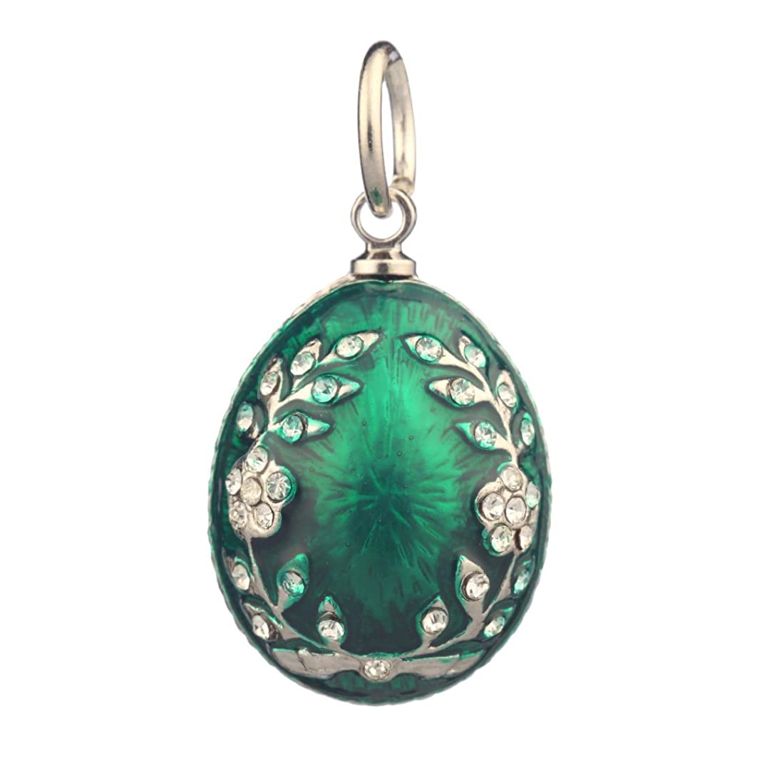danila-souvenirs Russian Faberge Style Egg Pendant/Charm with Crystals 0.9'' Green #0811-08