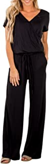 Womens Casual V Neck Wide Legs Long Pant Jumpsuits Rompers with Pockets