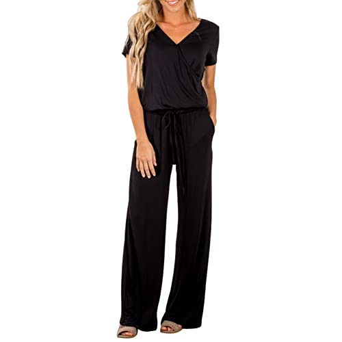 abd0c7b8220 Dearlove Womens Casual V Neck Wide Legs Long Pant Jumpsuits Rompers with  Pockets