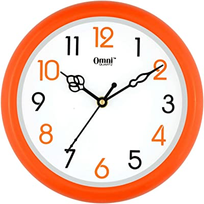 Stop to Shop Plastic Wall Clock 5 Different Colour (Orange)