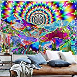 PROCIDA Psychedelic Tapestry Trippy Mountain Abstract Sun Colorful Cactus Nature Landscape Hippie Wall Blankets for Bedroom Living Room College with Nails 60'W x 40'L