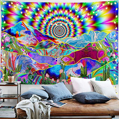 "PROCIDA Psychedelic Tapestry Trippy Mountain Abstract Sun Colorful Cactus Nature Landscape Hippie Wall Blankets for Bedroom Living Room College with Nails 60""W x 40""L"