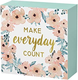 SANY DAYO HOME 6 x 6 inches Colorful Wooden Box Sign with Inspirational Saying for Home..