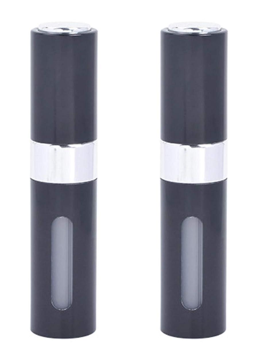 に対処する決してゴミアクアミー ワンタッチ 補充 アトマイザー クイック 詰め替え 携帯 香水 スプレー 8ml (2個組, ブラック)