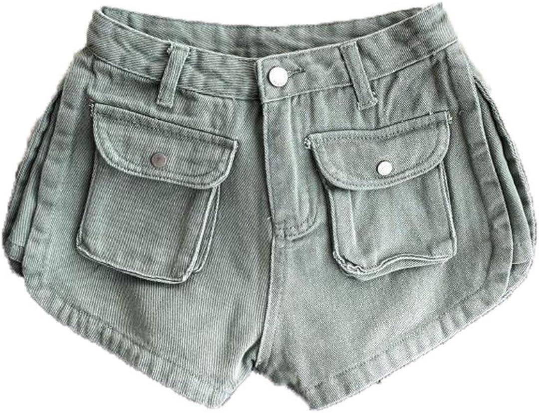 Spring Summer Women Vintage Denim Shorts Wide Leg Split Black Jeans Shorts