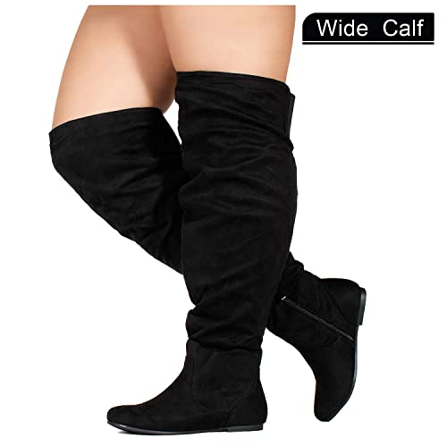 da9303342f7 RF ROOM OF FASHION Wide Calf Women s Stretchy Over The Knee Slouchy Boots  Black (10