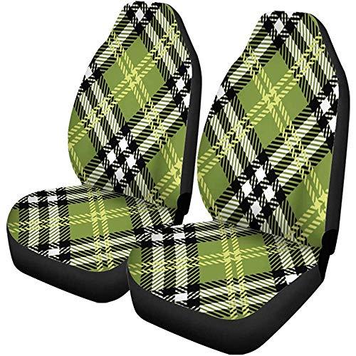 Feeling-Right Autositzbezüge Green Celtic Plaid Pattern Gelb Irish Tartan Scottish Geometric Auto Zubehör Protectors Car Decor