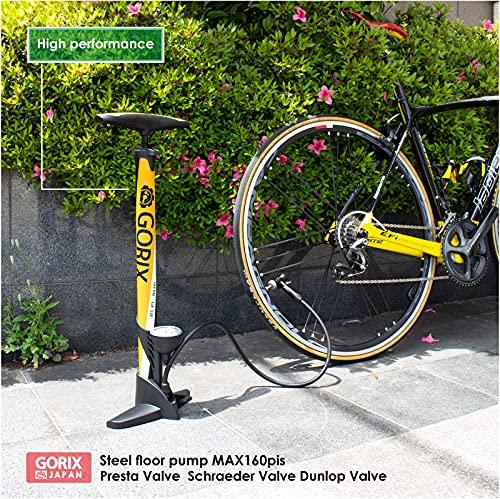 【全バルブ対応】GORIX(ゴリックス)自転車ゲージ付き空気入れ[米式仏式英式バルブ対応](マットブラック)GX-33P