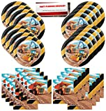 Big Dig Construction Zone Equipment Backhoe Birthday Party Supplies Bundle Pack for 16 Guests (Plus Party Planning Checklist by Mikes Super Store)