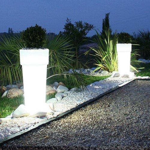 Plastic Konstsmide 7454-000EE Assisi Low Voltage LED Outdoor Landscape Illuminated Large Plant Pot 15 LED IP44 White