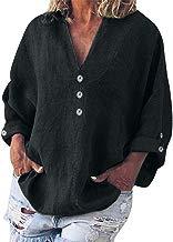 COZOCO Camiseta De Manga Larga con Cuello En V Y Camisa De Manga Larga De Color Sólido De Color Liso para Mujer