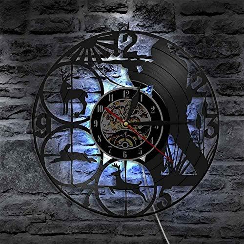 Reloj de pared con luz LED de 7 colores para grabar de vinilo, vida silvestre Bosque Caza Animales Hombre Cueva Decoración de Pared Caza Club Shot Objetivo Cazadores Regalo
