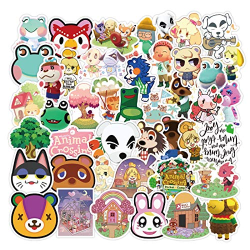 MBGM 50pcs Animal Crossing Amigos Impermeable Dibujos Animados Etiqueta Engomada Lindo Portátil Personalizada Impermeable Pvc Graffiti