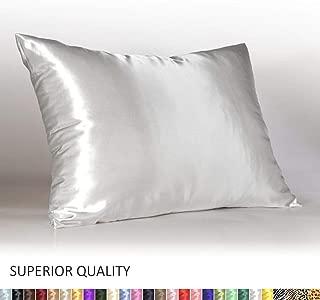Shop Bedding Luxury Satin Pillowcase for Hair – Standard Satin Pillowcase with Zipper, White (Pillowcase Set of 2) – Blissford