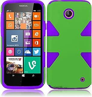 Lumia 635 630 Case - Wydan (TM) Dynamic Hybrid Impact Tuff Hard Soft Case Cover For Nokia Lumia 635 630 - Green on Purple w/Wydan Stylus Pen and Clear Screen Protector Film