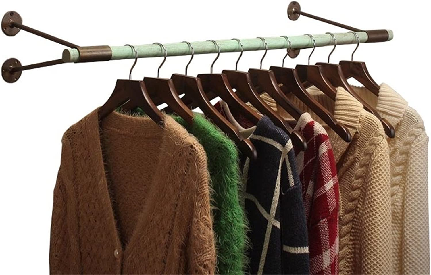 LAXF- Coat Racks Free Standing Wooden Wood Iron Wall Coat Rack Hangers Clothing Display Stand for Cloakroom Clothing Store White Easy to Install (Size   60ccm)