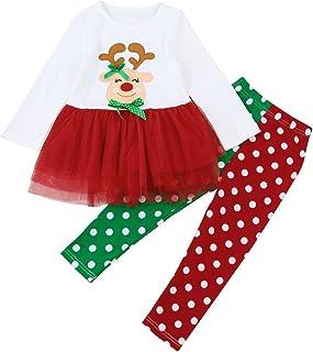 Beb/é Navidad Vestido 2 Piezas Traje para Ni/ña Reci/én Nacida Conjunto Mameluco de Manga Larga con Dibujo de Reno Falda Leopardo Ropa Disfraz de Giesta Navidad para Beb/és 0-18 Meses