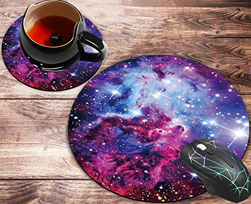 Round Mouse Pad and Coasters Set, Galaxy Red Starry Sky Mousepad, Anti Slip Rubber Round Mousepads Desktop Notebook Mouse Mat for Working and Gaming