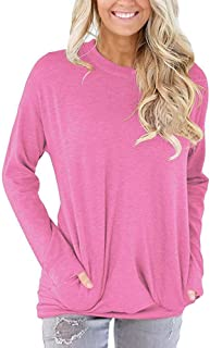 Women Tops Long Sleeve Casual Cotton Solid T-Shirt Blouses With Pockets