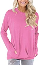 HGWXX7 Women Tops Long Sleeve Casual Cotton Solid T-Shirt Blouses With Pockets