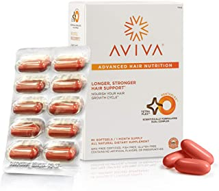 Aviva Advanced Hair Nutrition Growth & Repair Supplement for Longer, Stronger, Thicker Hair, 60 Softgels, 1 Month Supply