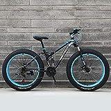 GXLO Vélo 24/26 Pouces VTT Top Fat Bike Fat Tire Bike Neige vélo Fat Tire Big vélo Fat Tire Mountain Bike Plage Cruiser 21/24/27 Vitesse Bikes Fat,Bleu,26 inch 27 Speed