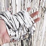 3 Packung Metallic Tinsel Vorhänge, Folie Fringe Shimmer Vorhang Tür Fenster Dekoration für Geburtstag Hochzeit (Silber) - 2