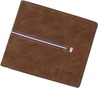 BeniNew men's wallet short multi-function wallet-light brown