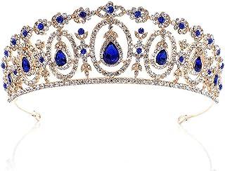 Dongyu Corona, Strass da Sposa Tiara Moda Corona d'oro Accessorio for Capelli da Sposa Femminile (Color : Blue)