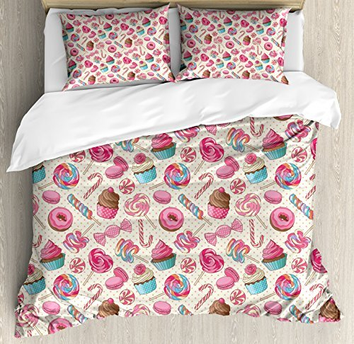 Ambesonne Candy Cane Duvet Cover Set, Yummy Lollipop Candy Macaroon Cupcake and Donut on Polka Dots Pattern, Decorative 3 Piece Bedding Set with 2 Pillow Shams, Queen Size, Pink Cream