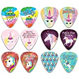 NewEights Unicorn Guitar Picks (12-Pack) - Stocking Stuffers for Girls - Birthday Party Favors Assorted Bulk Pack Thanksgiving Christmas Rewards Encouragement Gift