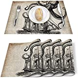 Store Placemats Set of 4,World Map Colored Words PVC Heat Resistant Table Mats Nonslip Washable Kitchen Place Mat for Dining Table Holiday Banquet Table DecorOctopus3731lase1182