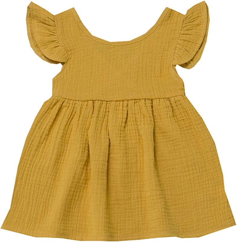 Baby Dresses Girl Summer Fly Sleeve Solid Dress Clothes Dresses Yellow 18M United Ates