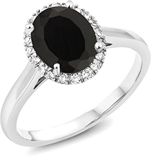 Gem Stone King 10K White Gold Black Onyx and Diamond Women's Engagement Ring (2.00 Ct Oval, Available in size 5, 6, 7, 8, 9)