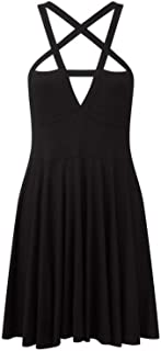 Surprise S Gothic Dress Bandage Pentacle Strapless Backless Collar Skate Summer Party Mini Dress
