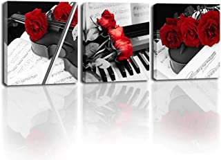 Red Canvas Wall Art for Bedroom Black and White Prints Wall Art Flower Pictures Wall Decor Musical Instrument Prints Paint...