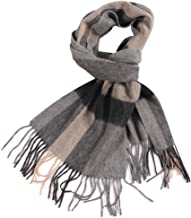 WAMSOFT 100% Pure Wool Scarf, Men Women Plaid Tartan Super Thick Warm Knitted Long Cashmere Feel Extreme Cold Winter Scarves