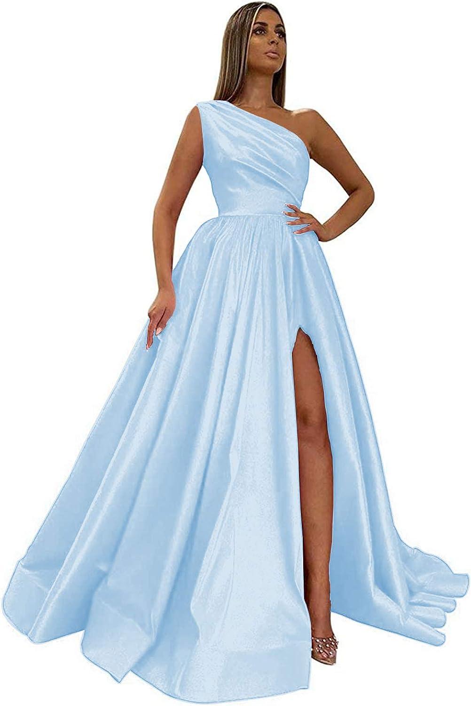 POMUYOO Women's One Shoulder Prom Dresses Long Satin Slit A Line Formal Evening Party Dress with Pockets