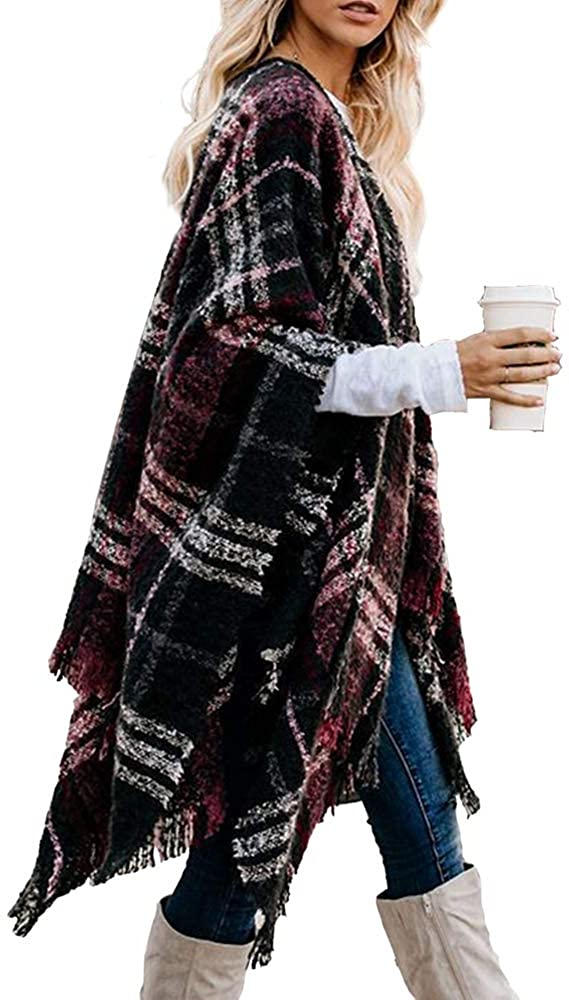 LittleMax Women's Open Front Boho Cardigan Oversized Knitted Shawl Wrap Cape Sweater Plaid Tassel Poncho