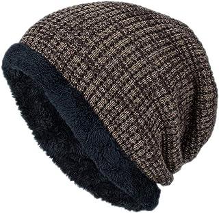 Women Men Plaid Knitted Baggy Beanie Hat Casual Sport Hip Hop Skull Caps Khaki