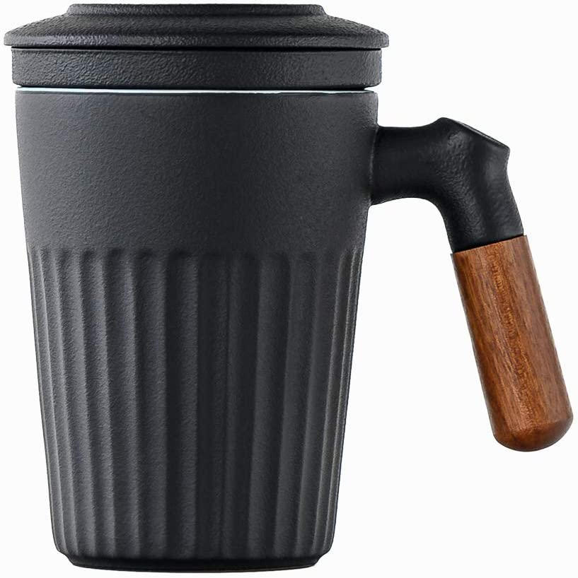 Sandalwood handle Tea Cup Limited time sale with Max 82% OFF Pottery and Infuser Lid Stra