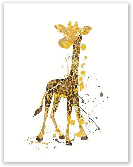 Watercolor Image Of Giraffes Art Print Home Decor Wall Art Poster