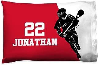 Personalized Men's Lacrosse Player Silhoutte Pillowcase | Lacrosse Pillows by ChalkTalk Sports | Red-Black