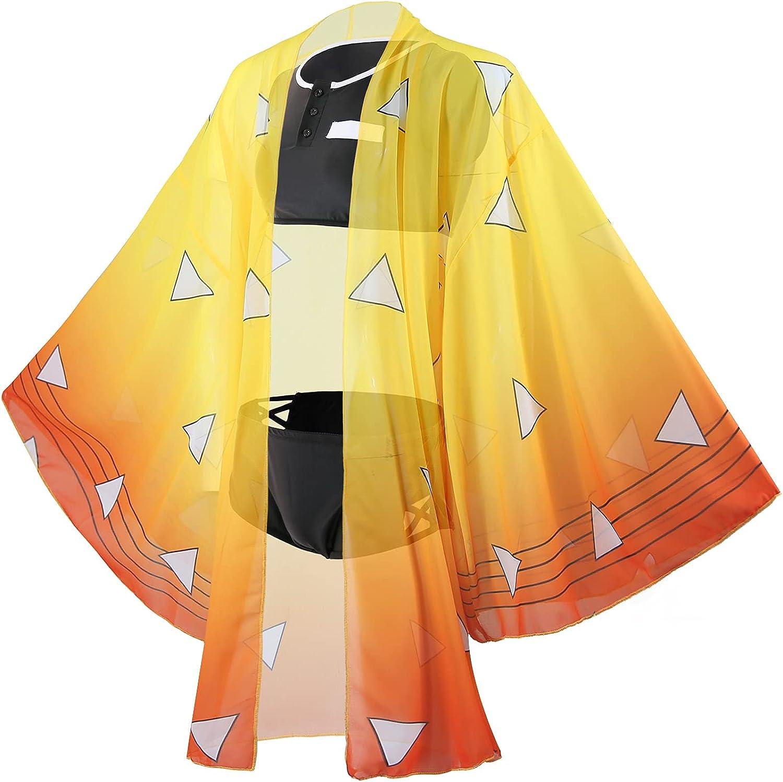 Demon Slayer Swimsuit Kochou Shinobu Bikini Swimsuit Kimono Cardigan Cover Up Anime Summer Bathing Suit Set