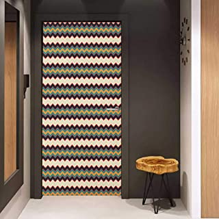 Onefzc Door Wall Sticker Chevron Retro Style Horizontal Borders with Different Colored Zig Zag Lines Old Fashioned Mural Wallpaper W23 x H70 Multicolor