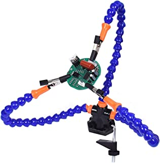 Table Clamp Soldering Helping Hands with 3 Flexible Arms Workshop Helping Station PCB Holder Tabletop Clamp Vise