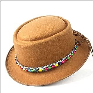 2019 Mens Womens Hats Unisex Men Women Flat Top Hat Autumn Fashion Winter Pork Pie Hat Dad Wool Fedora Hat Lady Flat Hat Porkpie Church Fascinator Hat Size 56-58CM (Color : Khaki, Size : 58)