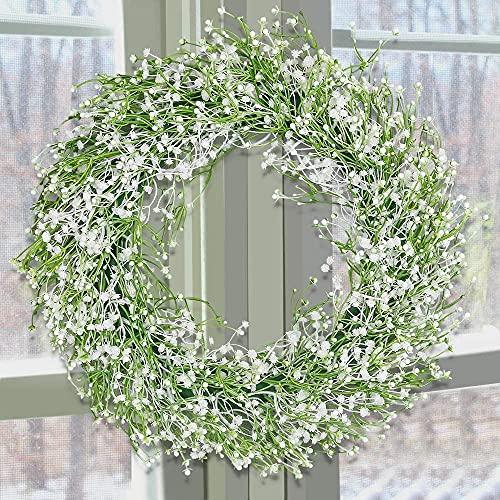 SHACOS Gypsophila Kranz Künstlich Grün Wandkranz Groß künstlicher Kranz Deko Türkranz, Ideal für Wand Fenster Dekor Hochzeit Party Weihnachten