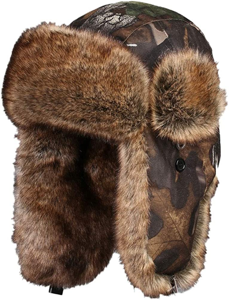 Oncefirst Unisex Russian Warm Faux Fur Ski Winter Hunting Trapper Bomber Hat